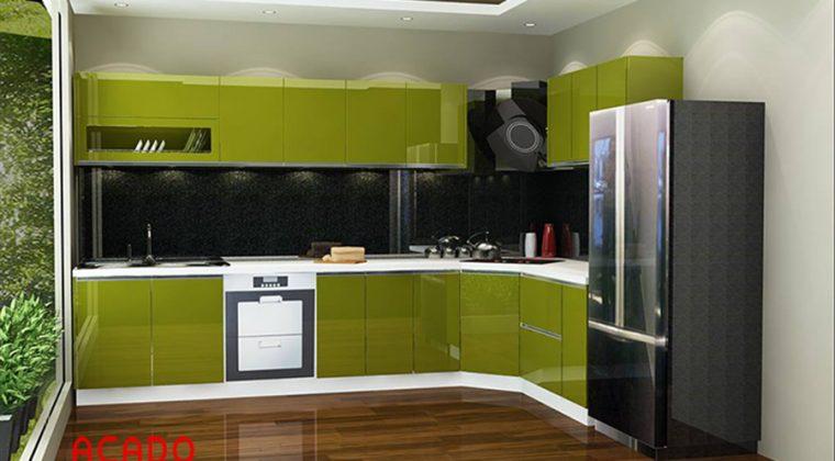 Tủ bếp Acrylic kết hợp xanh trắng đẹp từ cái nhìn đầu tiên