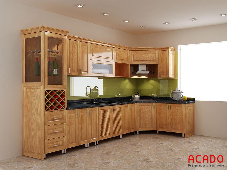 Tủ bếp inox cánh gỗ tự nhiên vừa bền vừa đem lại cảm giác ấm cúng