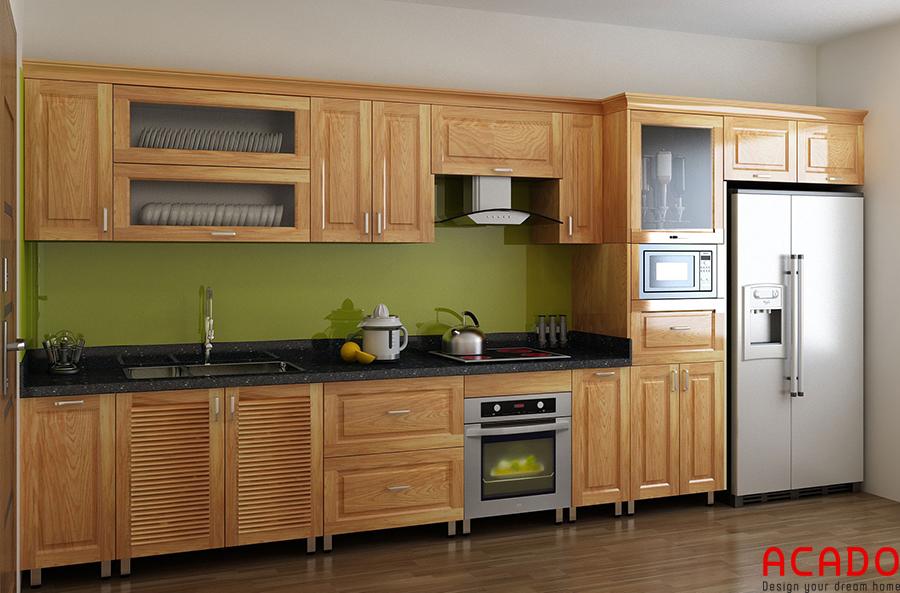 Tủ bếp thùng inox cánh gỗ sồi Nga rất được ưa chuộng hiện nay