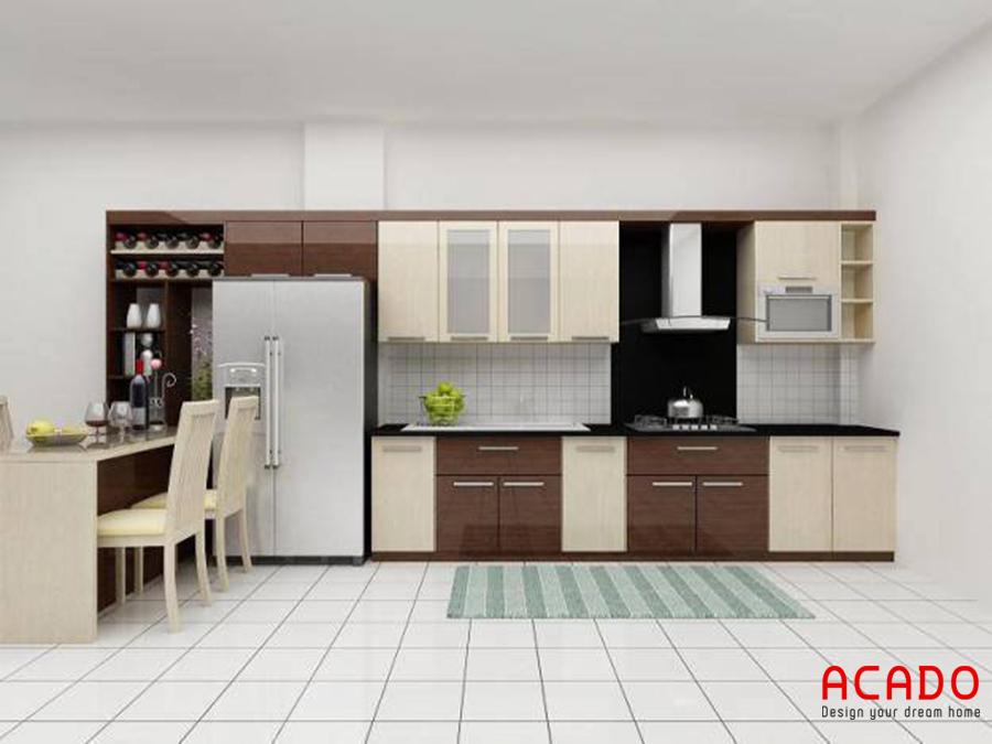 Thiết kế nhà bếp với chất liệu gỗ công nghiệp bền đẹp không bị cong vênh