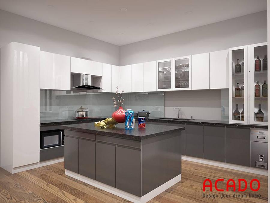 Nhà bếp sử dụng chất liệu Acrylic sáng bóng kèm thêm bàn đảo tạo điểm nhấn cho căn bếp