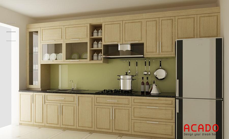 Mẫu tủ bếp gỗ sồi hình chữ i được thiết kết thông minh tiết kiệm diện tích