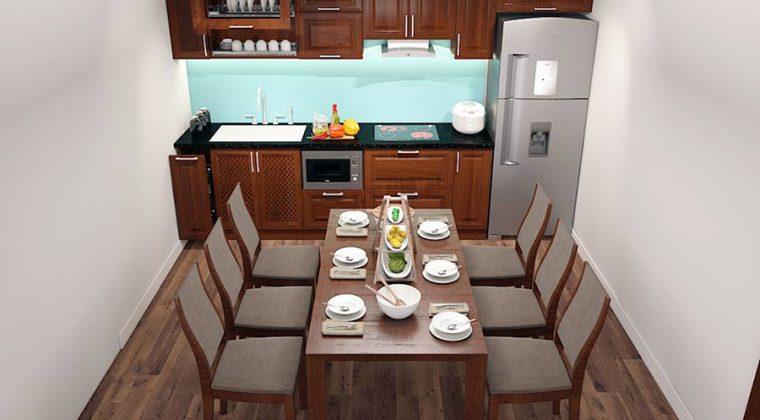 Nhà bếp gỗ tự nhiên với thiết kế tối giản nhưng vẫn mang lại không gian bếp sang trọng, ấm cúng