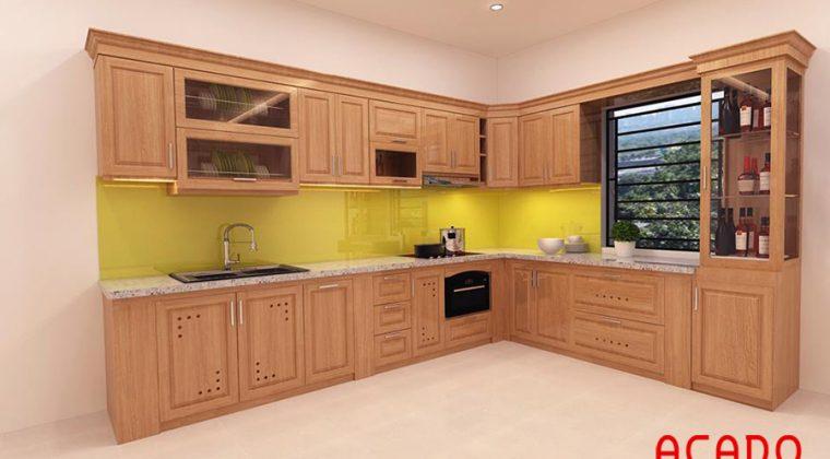 Thiết kế tủ bếp gỗ sồi Nga nhà anh Long-Xa La