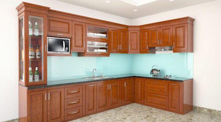 Thiết kế tủ bếp gỗ xoan đào hình chữ L nhà anh chị Giang tại Hòa Bình