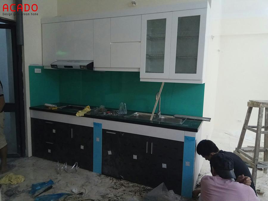 Tủ bếp Acrylic hinh chữ i tại Lương Thế Vinh
