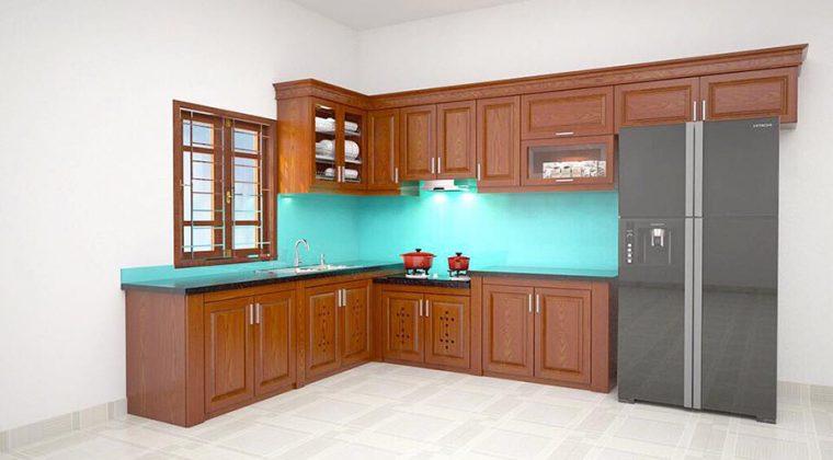 Thiết kế 3d tủ bếp gỗ Xoan Đào hình chữ L cho khách hàng tại Bắc Giang