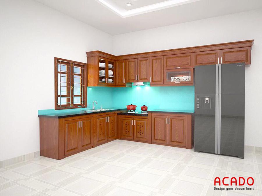 Thiết kế tủ bếp gỗ Xoan Đào hình chữ L tại Bắc Giang
