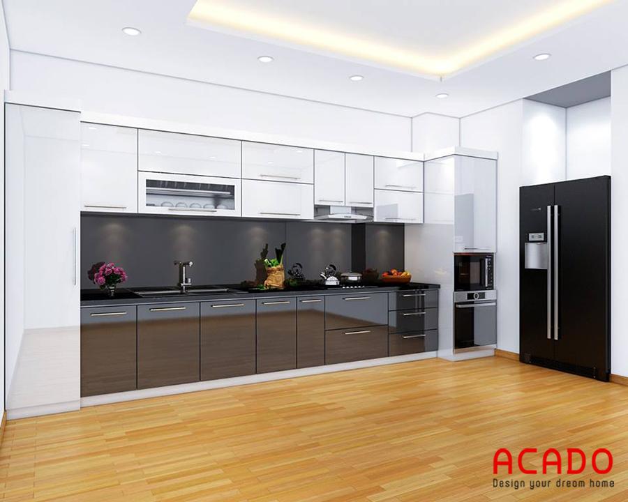 Mẫu tủ bếp đẹp hình chữ i bằng gỗ Acrylic bóng gương hiện đại, tiện nghi