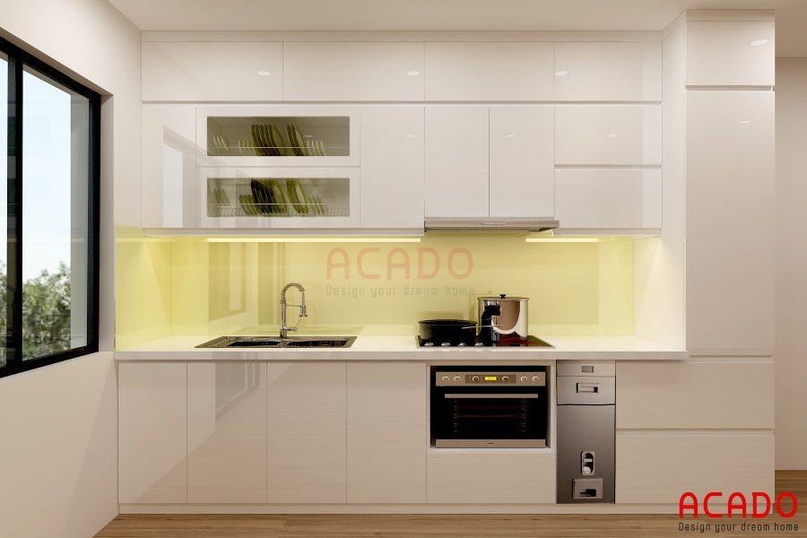 Mẫu tủ bếp Acrylic hình chữ i màu trắng sạch sẽ và dễ dàng lau chùi