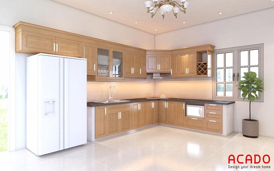 Mẫu tủ bếp gỗ sồi hình chư L tận dụng không gian góc của phòng bếp