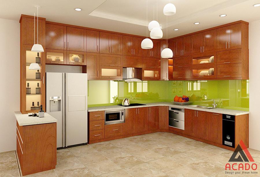 Mẫu tủ bếp đẹp nhất với chất liệu gỗ xoan đào không bao giờ lỗi mốt