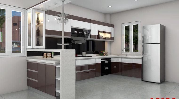 Mẫu thiết kế tủ bếp bằng gỗ Acrylic bóng gương đẹp, hiện đại, tiện nghi với quầy bar mini ấn tượng
