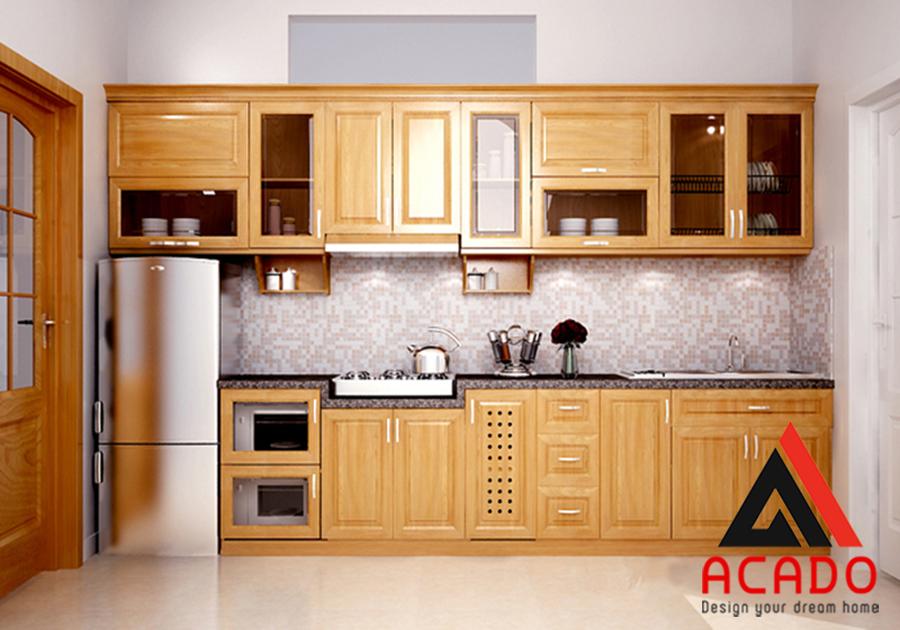 Thiết kế mẫu tủ bếp hình chữ i gỗ sồi  Mỹ nhỏ gọn tiết kiệm diện tích. Tuy nhiên vẫn đảm bảo đầy đủ công năng sử dụng