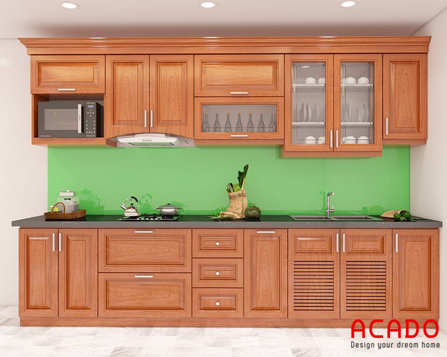 Mẫu tủ bếp gỗ sồi Mỹ hình chữ i phù hợp với những không gian bếp nhỏ hẹp
