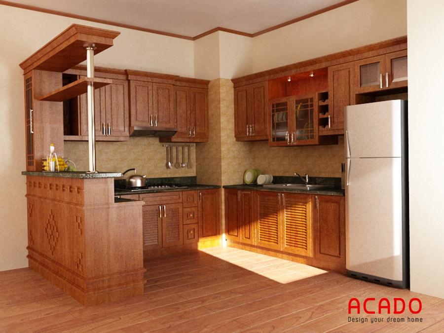 Mẫu tủ bếp gỗ xoan đào hình chữ U có quầy bar sang trọng và tiện dụng