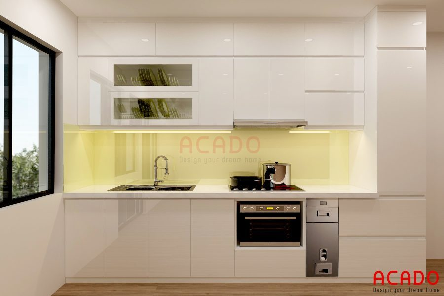 Mẫu tủ bếp Acrylic hình chữ i đẹp cuốn hút từ cái nhìn đầu tiên