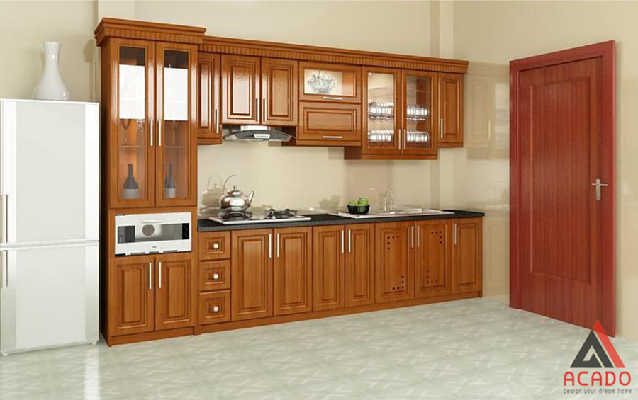 Mẫu tủ bếp gỗ xoan đào hình chữ i màu cánh dán mang lại không gian ấm cúng cho gia đình