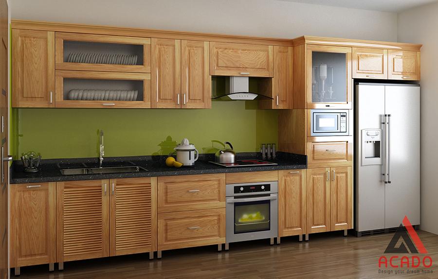 Tủ bếp gỗ sồi Nga hình chữ i đơn giản tiết kiệm diện tích và tiện dụng