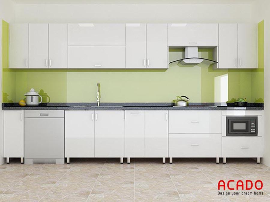 Mẫu tủ bếp hình chữ i làm từ chất liệu Acrylic sáng bóng dề dàng vệ sinh lau chùi