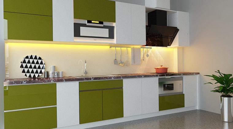Sự phá cánh trong thiết kế tủ bếp gỗ công nghiệp hình chữ i màu trắng-xanh cốm