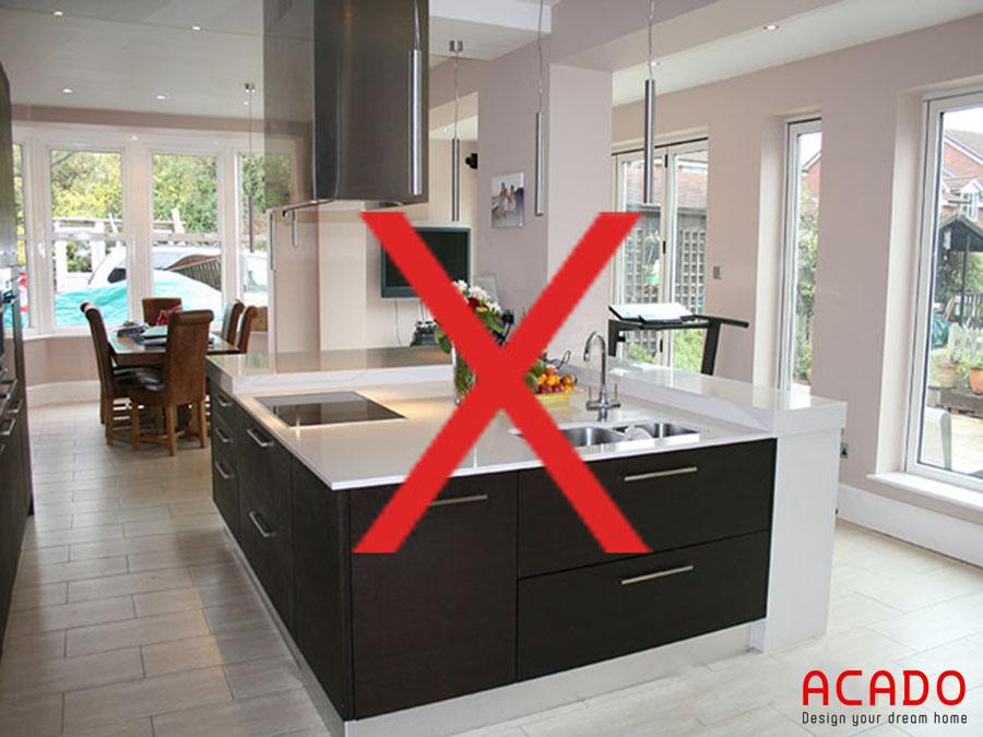 Không nên đặt bếp ở vị trí trung tâm nhà