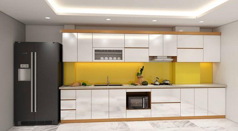 Tủ bếp Acrylic bóng gương hiện đại, trẻ trung giá thành hợp lý