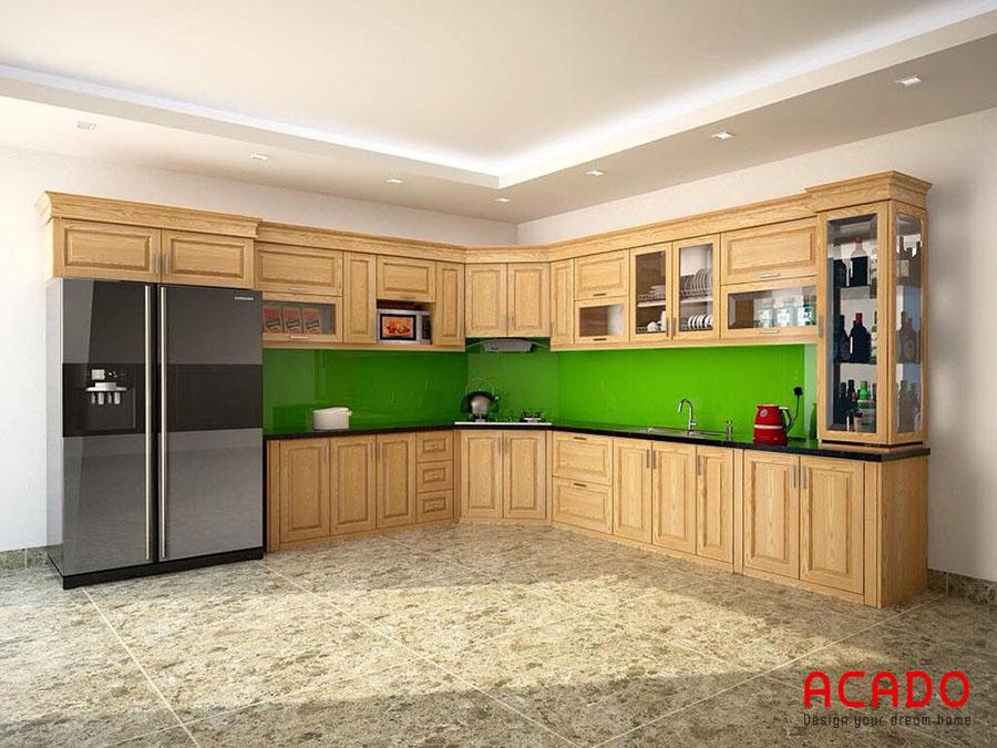 Thiết kế tủ bếp gỗ sồi Nga hình chữ L tối ưu không gian sử dụng