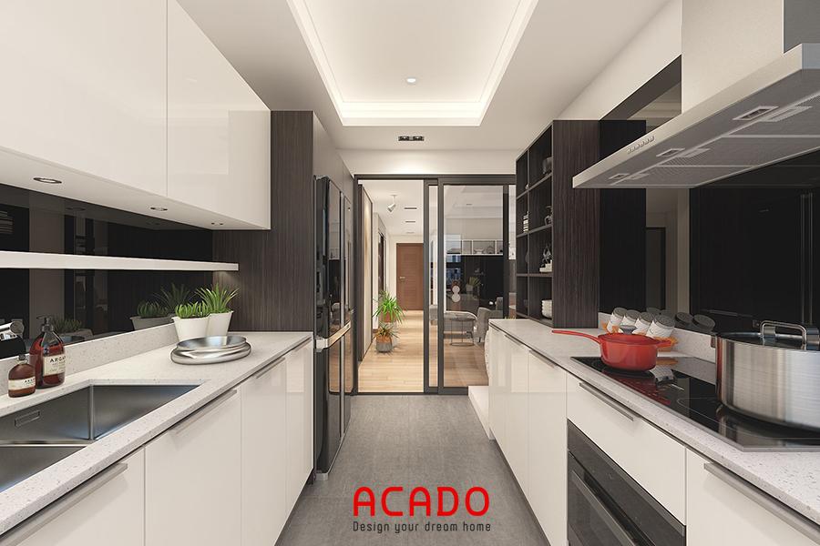Mẫu tủ bếp đối xứng thuận tiện khi nấu nướng và vệ sinh lau chùi
