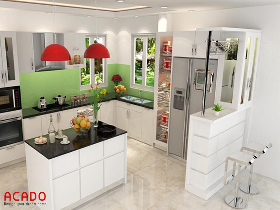 Tủ bếp acrylic sang trọng cùng thiết kế bàn đảo bếp hiện đại, trẻ trung