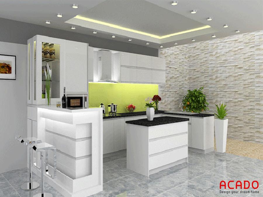 Tủ bếp Acrylic sáng bóng có thêm bàn đảo tạo điểm nhấn cho căn bếp