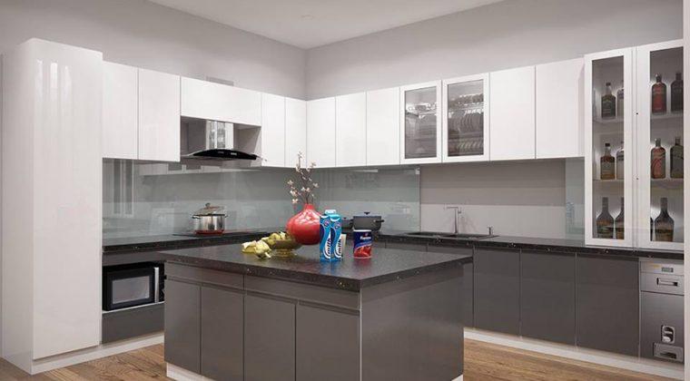 Thiết kế tủ bếp Acrylic kết hợp bàn đảo hiện đại, tiện nghi