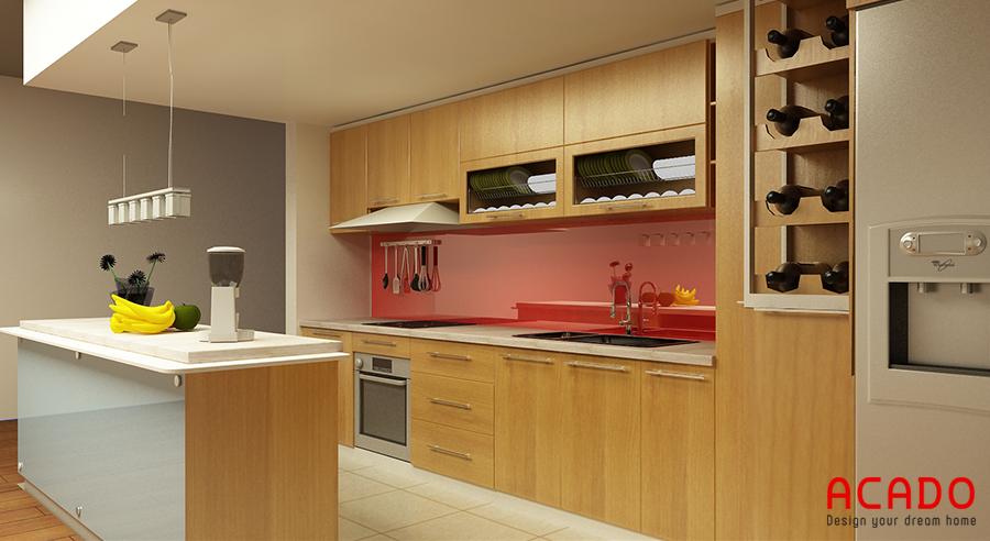 Tủ bếp Melamine kết hợp bàn đảo hiện đại