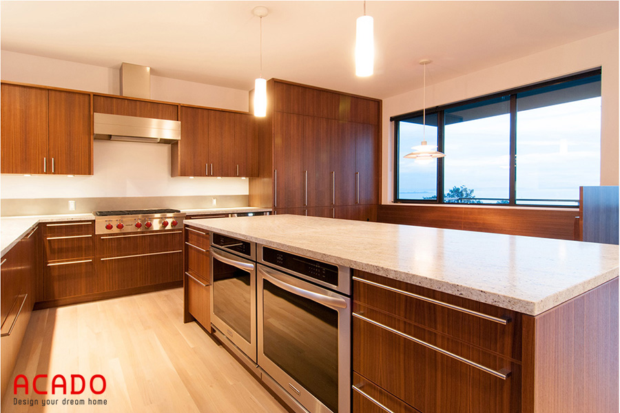 Thiết kế tủ bép Laminate có bàn đảo là sự lựa chọn hoàn hảo cho căn bếp có diện tích rộng