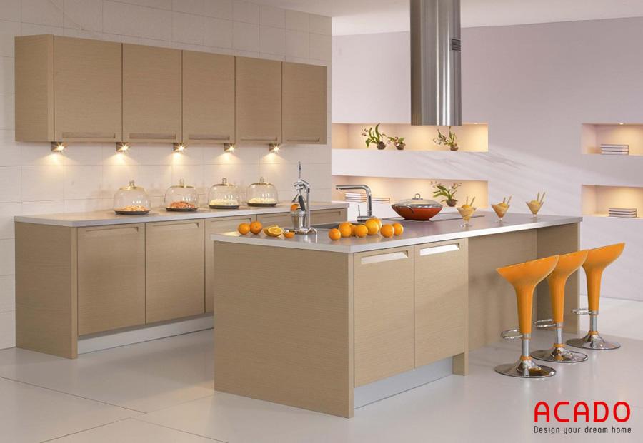 Với thiết kế tủ bếp Melamine có bàn đảo đem lại sự sang trọng và tiện nghi cho căn bếp
