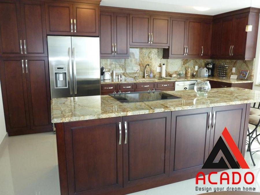 Tủ bếp kết hợp bàn đảo bằng gỗ Xoan Đào màu cánh dán đậm bền đẹp