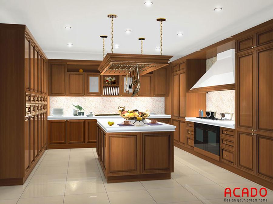 Tủ bếp có bàn đảo gỗ Xoan Đào sang trọng, đẳng cấp