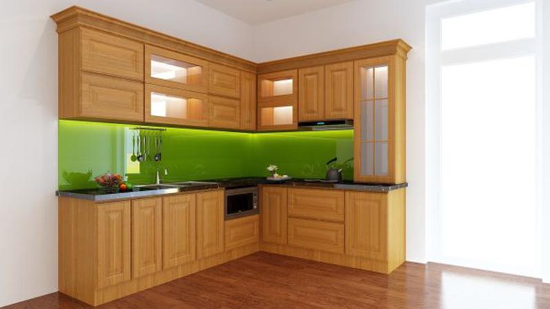 Mẫu tủ bếp gỗ sồi Mỹ chữ L tận dụng không gian góc của phòng bếp