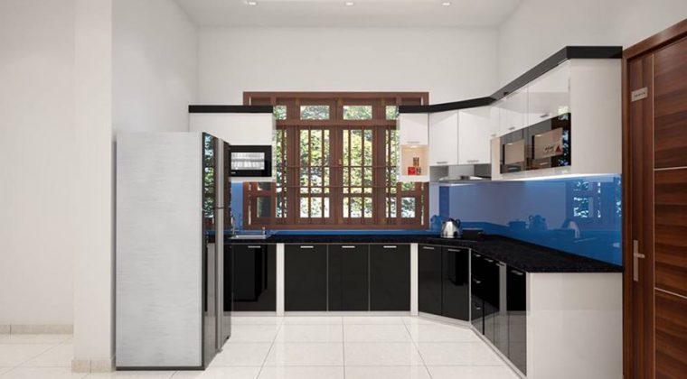Mẫu tủ bếp Acrylic bóng gương màu đen trắng hiện đại, trẻ trung
