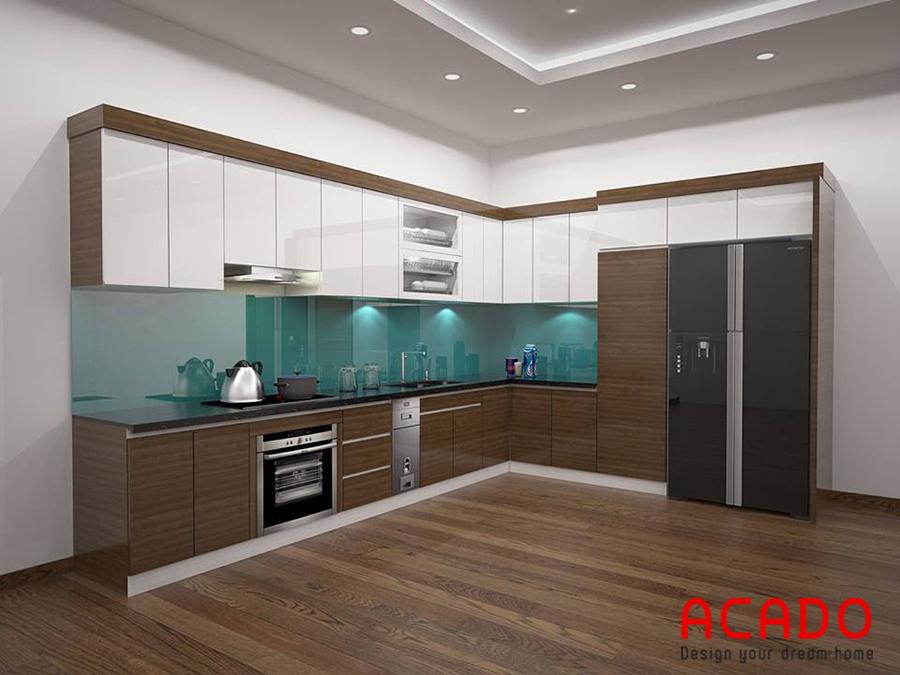 Mẫu tủ bếp gỗ Acrylic đẹp cuốn hút từ ánh nhìn đầu tiên