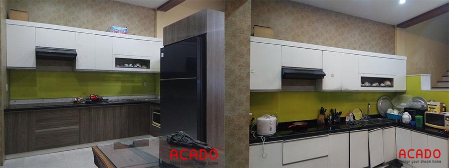 Hình ảnh trước và sau khi thi công tủ bếp cho gia chủ tại Văn Khê