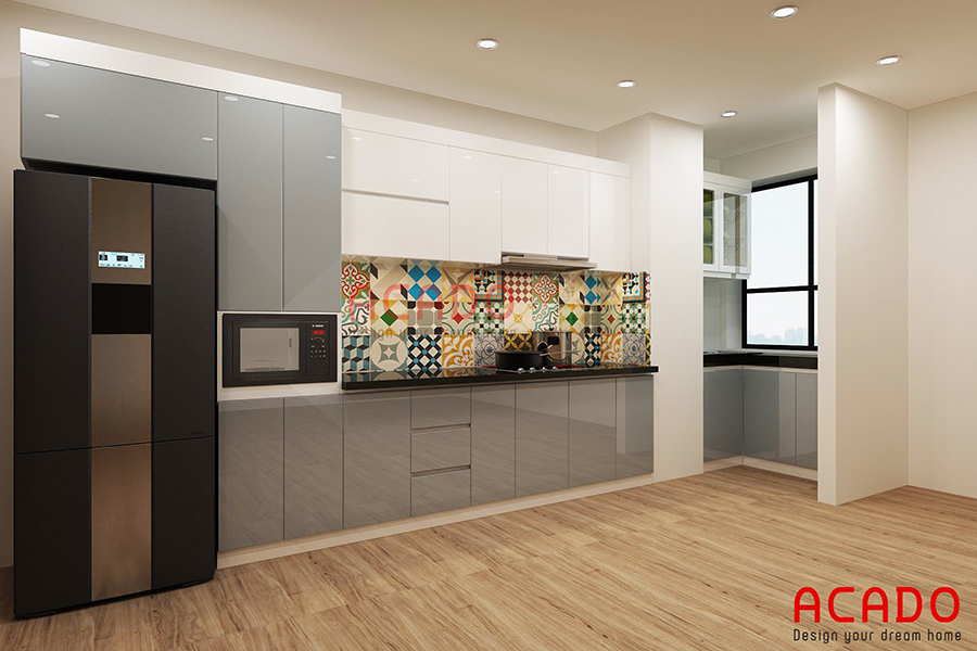 Thiết kế tủ bếp hình chữ i làm từ chất liệu Acrylic bóng gương nhà chị Chi ở Hoàng Văn Thái