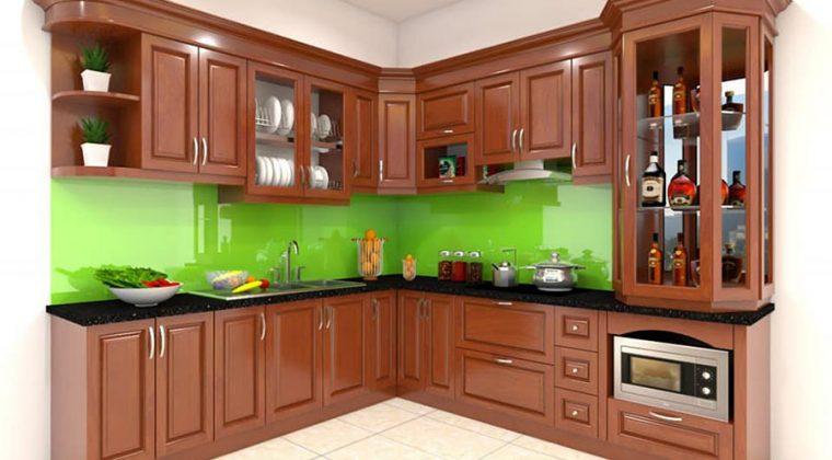 Mẫu tủ bếp gỗ xoan đào hình chư L màu cánh dán mang lại không gian bếp sang trọng, ấm cúng