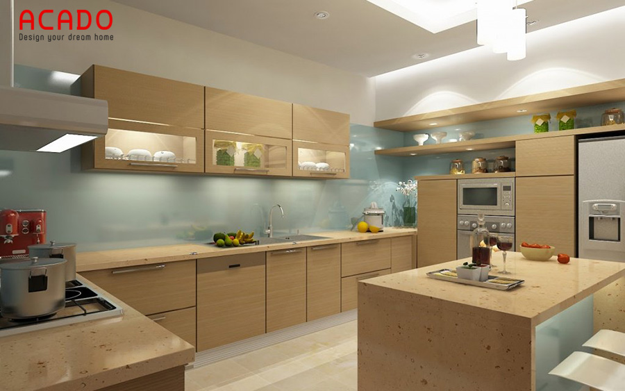 Mẫu tủ bếp Melamine có bàn đảo mang đến sự thoải mái khi sử dụng
