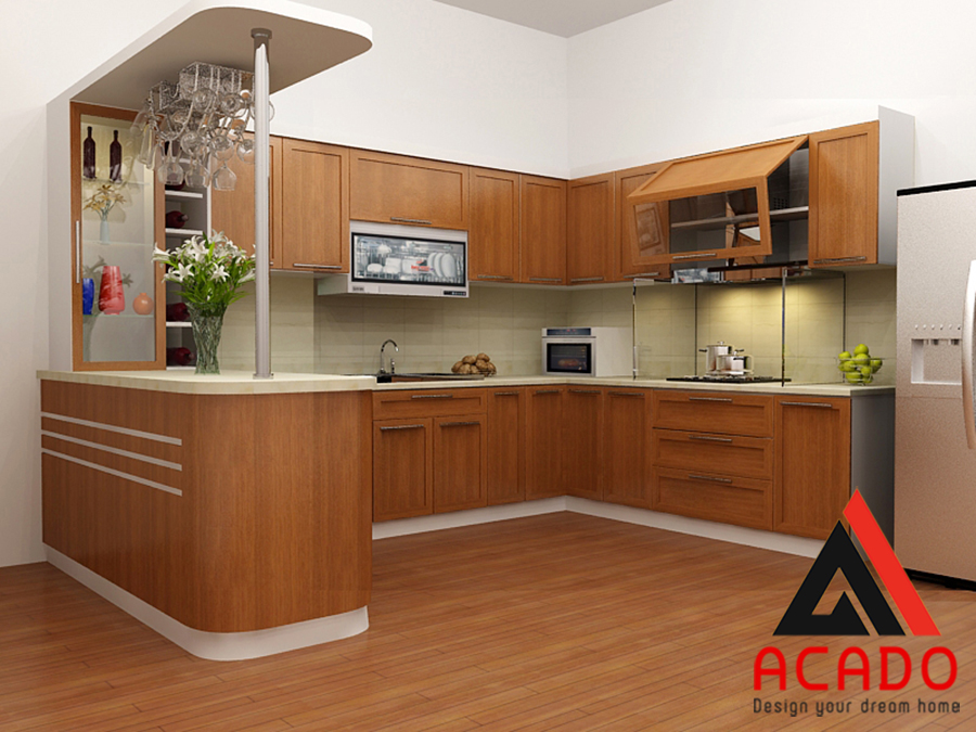 Mẫu tủ bếp gỗ sồi Mỹ có quầy bar sang trọng và tiện nghi khi sử dụng