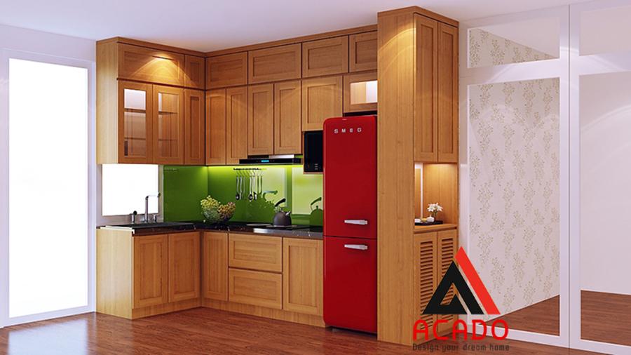 Mẫu tủ bếp hình chữ L làm từ chất liệu gỗ sồi Mỹ bền đẹp với thời gian
