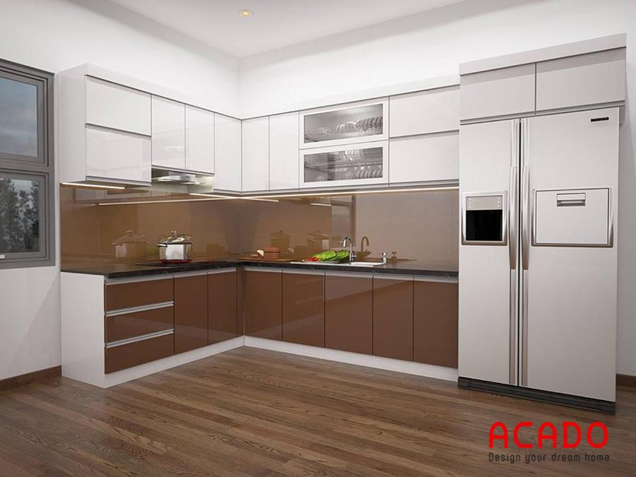 Mẫu tủ bếp gỗ đẹp Acrylic hình chữ L tận dụng không gian góc của phòng bếp