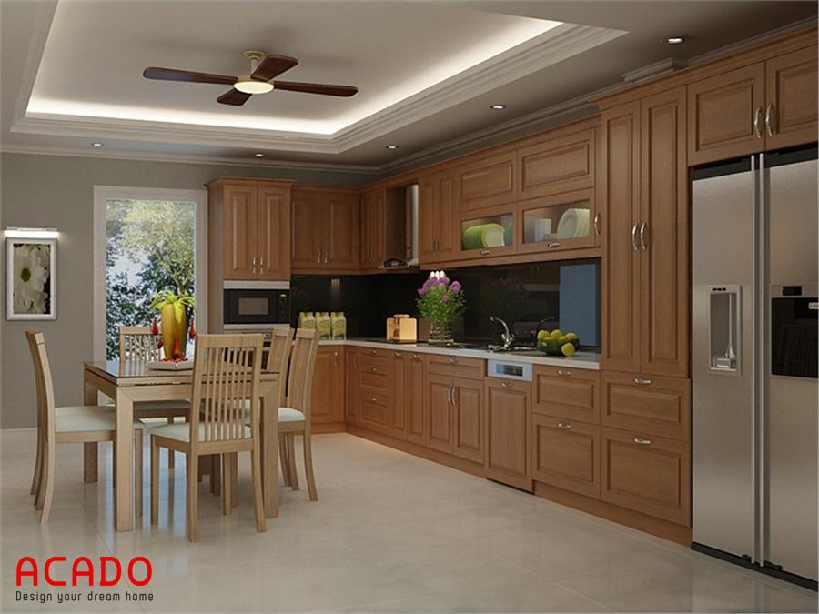Tủ bếp gỗ sồi Mỹ hiện đại , sang trọng cho không gian bếp