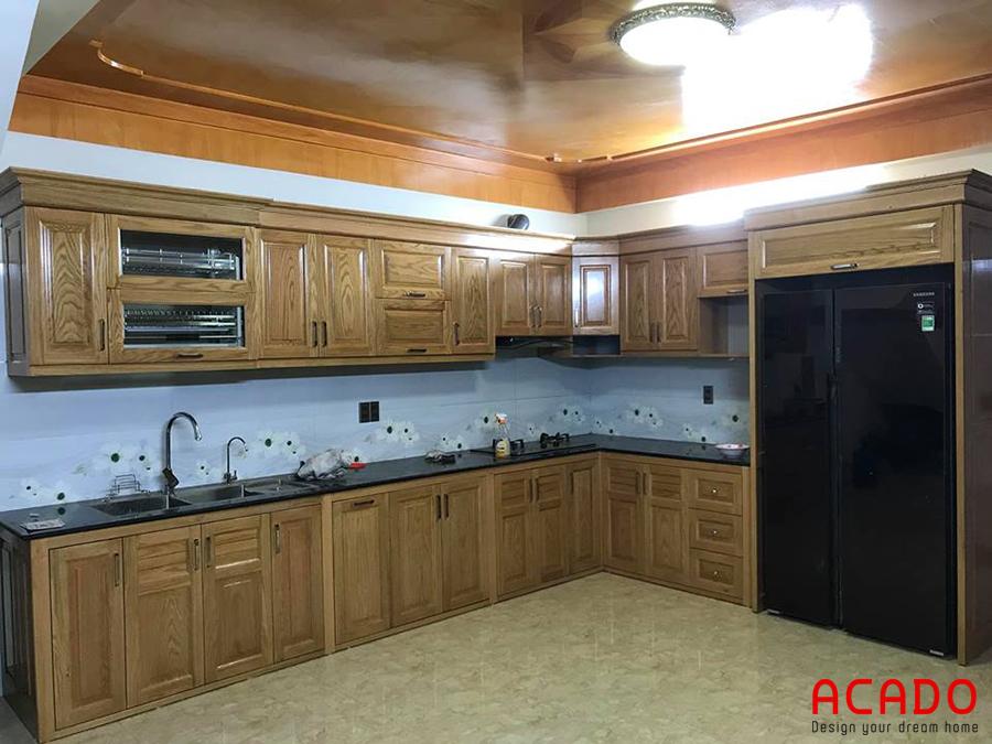 Tủ bếp gỗ sồi Mỹ được nhiều gia đình ưa chuộng hiện nay