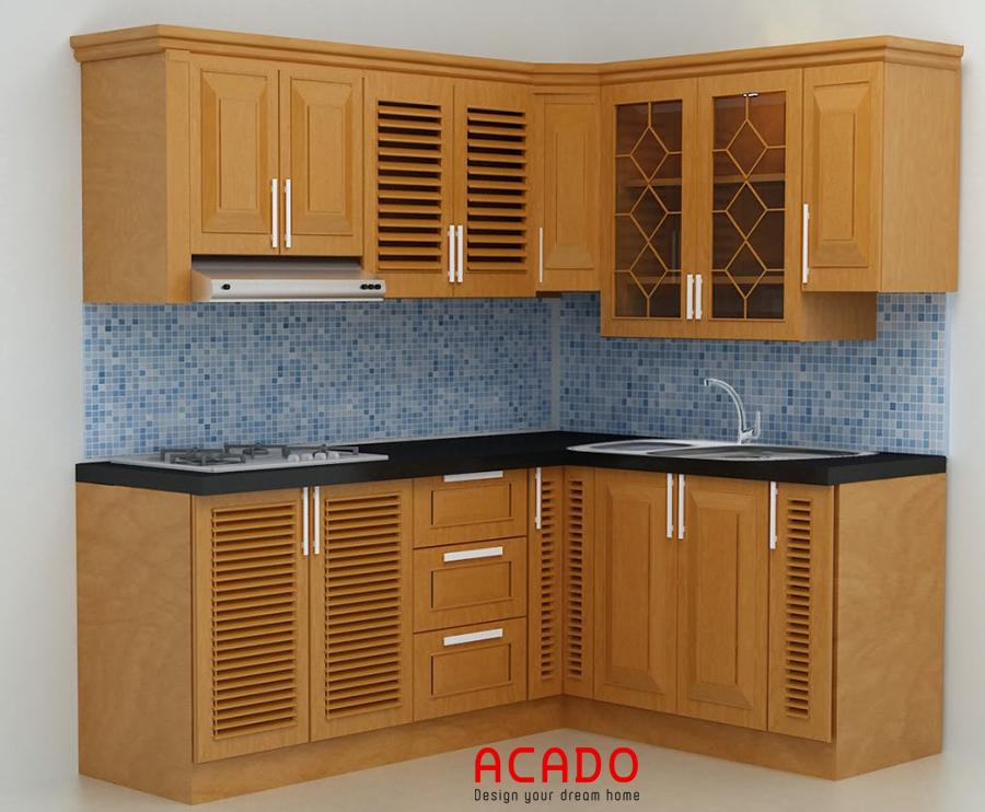 Mẫu tủ bếp gỗ sồi Mỹ nhỏ gọn đầy đủ công năng